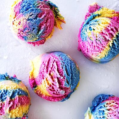 This image is of rainbow gelato